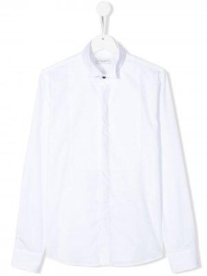 Однотонная рубашка с манишкой Paolo Pecora Kids. Цвет: белый