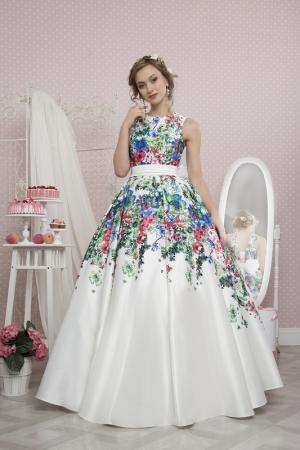 Платье To Be Bride. Цвет: белый, голубой