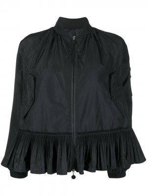 Куртка-бомбер с баской Moncler. Цвет: черный