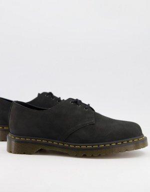 Черные туфли с 3 парами люверсов из нубука 1461-Черный цвет Dr Martens
