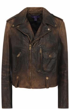 Укороченная кожаная куртка с косой молнией Ralph Lauren. Цвет: черный