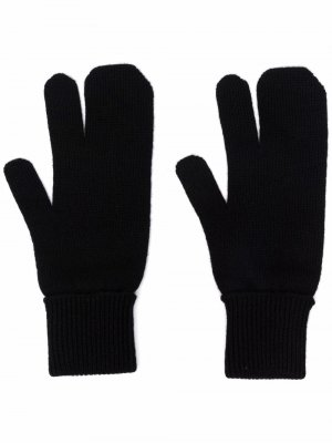 Вязаные перчатки Tabi Maison Margiela. Цвет: черный