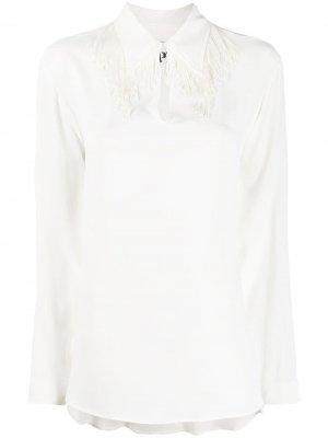 Блузка с бахромой и длинными рукавами 8pm. Цвет: белый
