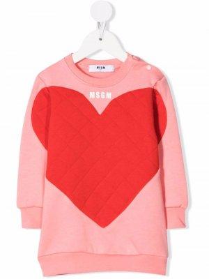 Quilted-heart long-sleeved dress MSGM Kids. Цвет: розовый