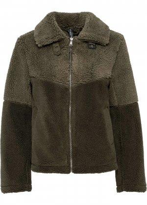 Куртка с плюшевым мехом bonprix. Цвет: зеленый