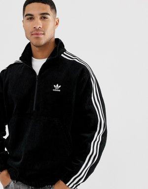 Черная вельветовая куртка с короткой молнией -Черный adidas Originals