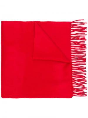 Классический кашемировый шарф с бахромой Begg & Co. Цвет: красный