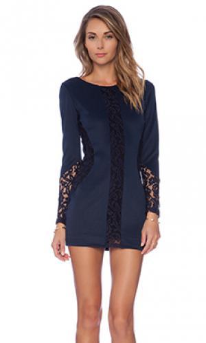 Платье с длинным рукавом heidi Boulee. Цвет: синий