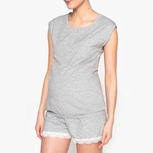 Пижама для периода грудного вскармливания LA REDOUTE MATERNITÉ. Цвет: серый меланж
