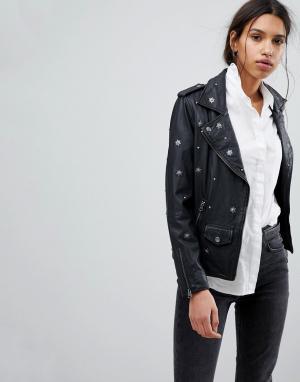 Кожаная байкерская куртка с заклепками Femme Selected. Цвет: черный