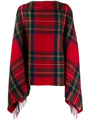 Клетчатое пончо с бахромой Comme Des Garçons Shirt. Цвет: красный