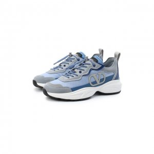 Комбинированные кроссовки Shegoes Valentino. Цвет: синий