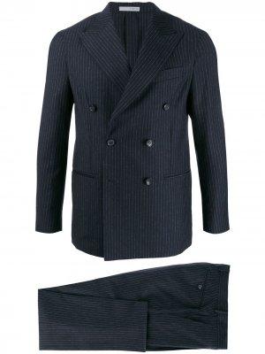 Костюм узкого кроя с двубортным пиджаком 0909. Цвет: синий