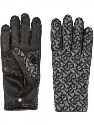 Перчатки с монограммой Burberry. Цвет: черный