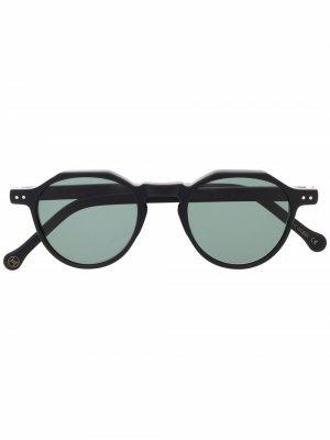 Солнцезащитные очки Icon 36 в круглой оправе Lesca. Цвет: черный