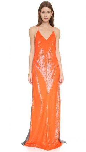Вечернее платье без рукавов с блестками KAUFMANFRANCO. Цвет: оранжевый/меланжевый