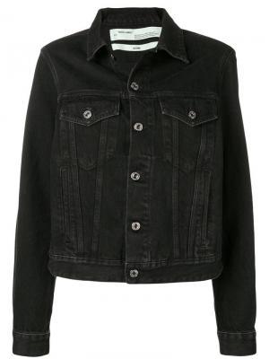 Джинсовая куртка узкого кроя Off-White. Цвет: черный