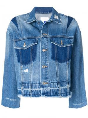 Джинсовая куртка с необработанными краями SJYP. Цвет: синий