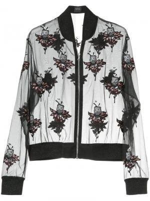 Прозрачная куртка-бомберс заплатками Markus Lupfer. Цвет: чёрный