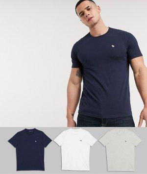 Набор из 3 футболок с круглым вырезом белого, синего и серого цвета эксклюзивно на ASOS-Мульти Abercrombie & Fitch