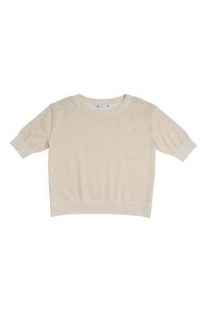 Хлопковый пуловер с люрексом Bonpoint. Цвет: золотой