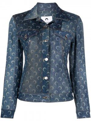 Джинсовая куртка в технике пэчворк Marine Serre. Цвет: синий