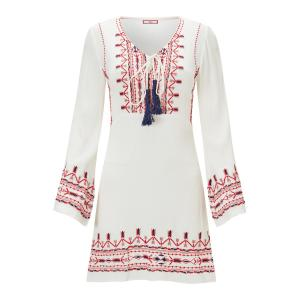 Платье прямое средней длины с вышивкой и длинными рукавами JOE BROWNS. Цвет: белый