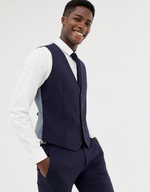 Темно-синий свадебный приталенный жилет Burton Menswear