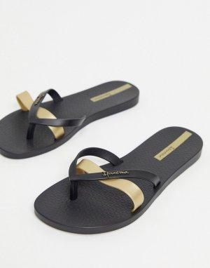 Шлепанцы с ремешками цвета металлик -Черный Ipanema