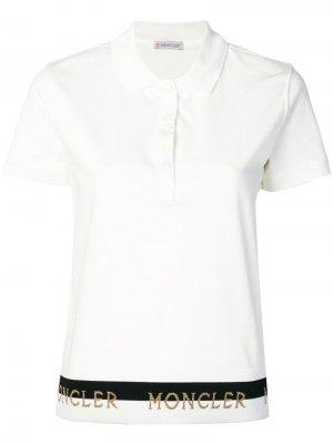 Рубашка-поло с логотипом Moncler. Цвет: белый