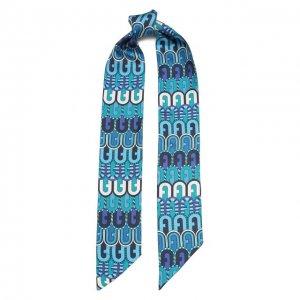 Шелковый шарф-бандо Furla. Цвет: синий