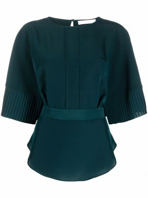 Pleated-cuff tied-waist blouse See by Chloé. Цвет: зеленый