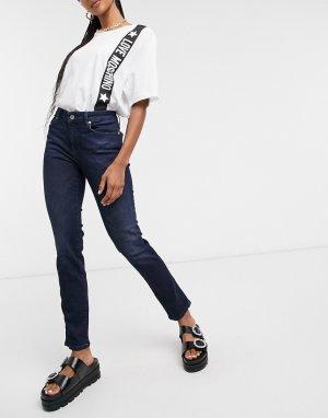 Темно-синие джинсы скинни с логотипом на кармане -Синий Love Moschino
