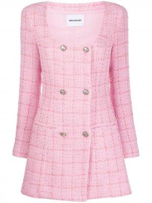 Двубортное пальто с U-образным вырезом Brognano. Цвет: розовый