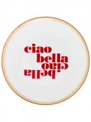 Тарелка с надписью Bitossi Home. Цвет: белый