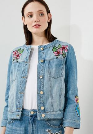 Куртка джинсовая Love Moschino LO416EWAEVL9. Цвет: голубой