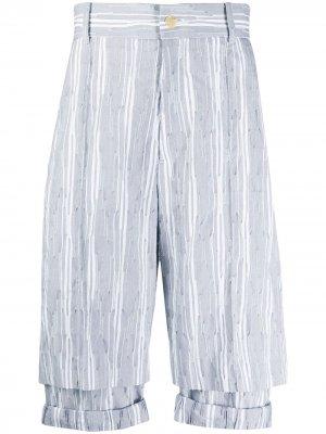 Двухслойные шорты в полоску Chalayan. Цвет: серый