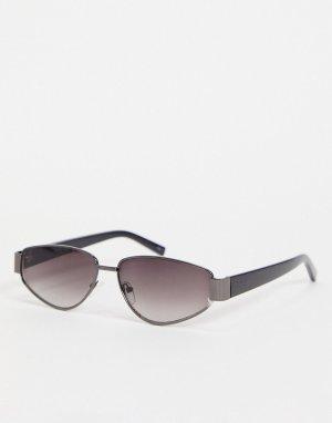 Женские квадратные солнцезащитные очки в серебристой оправе -Серебристый Jeepers Peepers