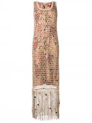 Длинное платье с бахромой Salvatore Ferragamo. Цвет: нейтральные цвета