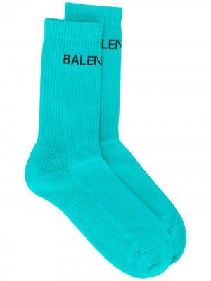 Носки в рубчик с логотипом Balenciaga. Цвет: синий