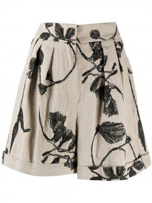 Шорты с завышенной талией и цветочной вышивкой Brunello Cucinelli. Цвет: нейтральные цвета