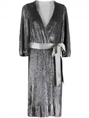 Платье с пайетками и V-образным вырезом Alice+Olivia. Цвет: серый
