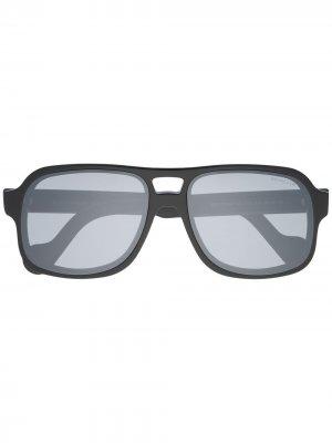 Солнцезащитные очки в круглой оправе Moncler Eyewear. Цвет: черный