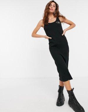 Черное приталенное платье-майка миди -Серый River Island