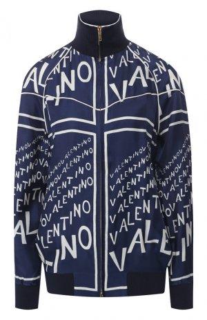 Шелковый бомбер Valentino. Цвет: темно-синий