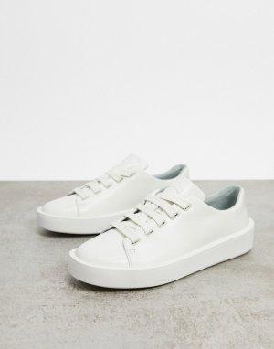 Белые кожаные кроссовки на плоской платформе -Белый Camper