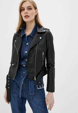 Куртка кожаная Softy. Цвет: черный
