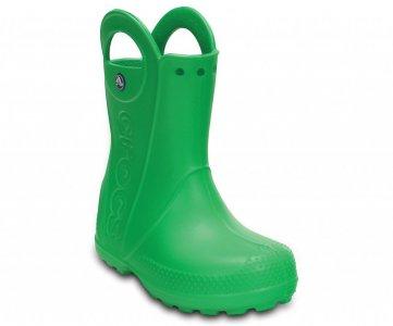 Резиновые сапоги детские CROCS Kids' Handle It Rain Boot Grass Green (Зеленый) арт. 12803. Цвет: зеленый