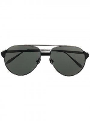 Солнцезащитные очки-авиаторы Linda Farrow. Цвет: черный