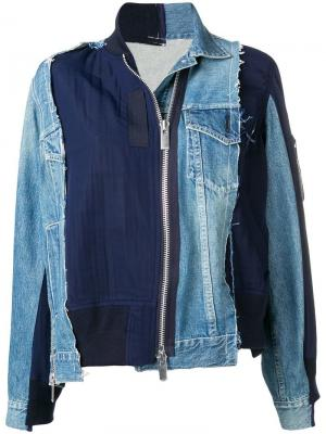 Деконструированная джинсовая куртка на молнии Sacai. Цвет: синий